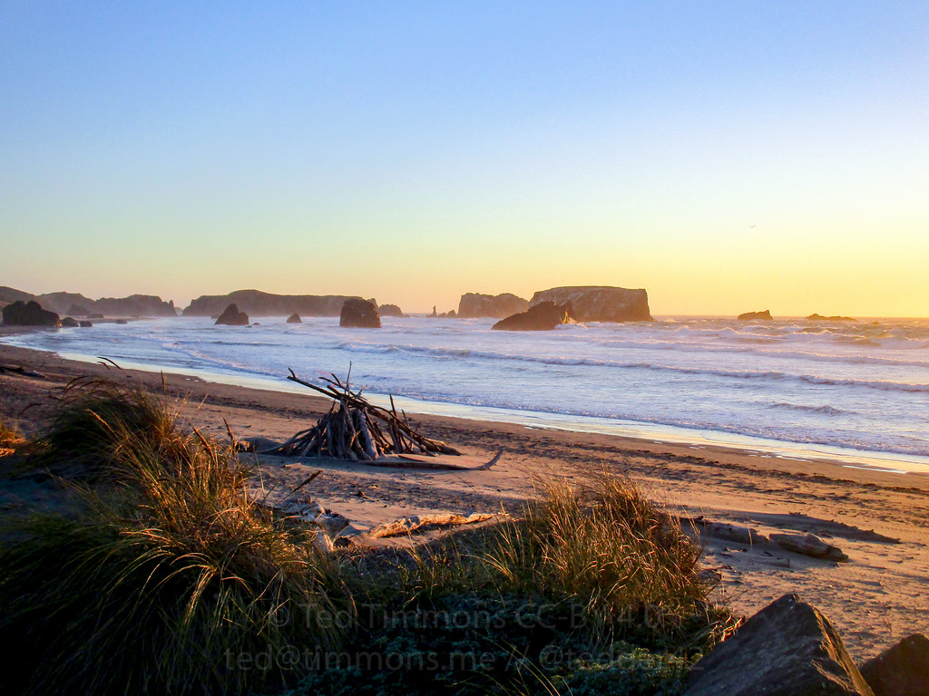 Bandon beach at sunset.