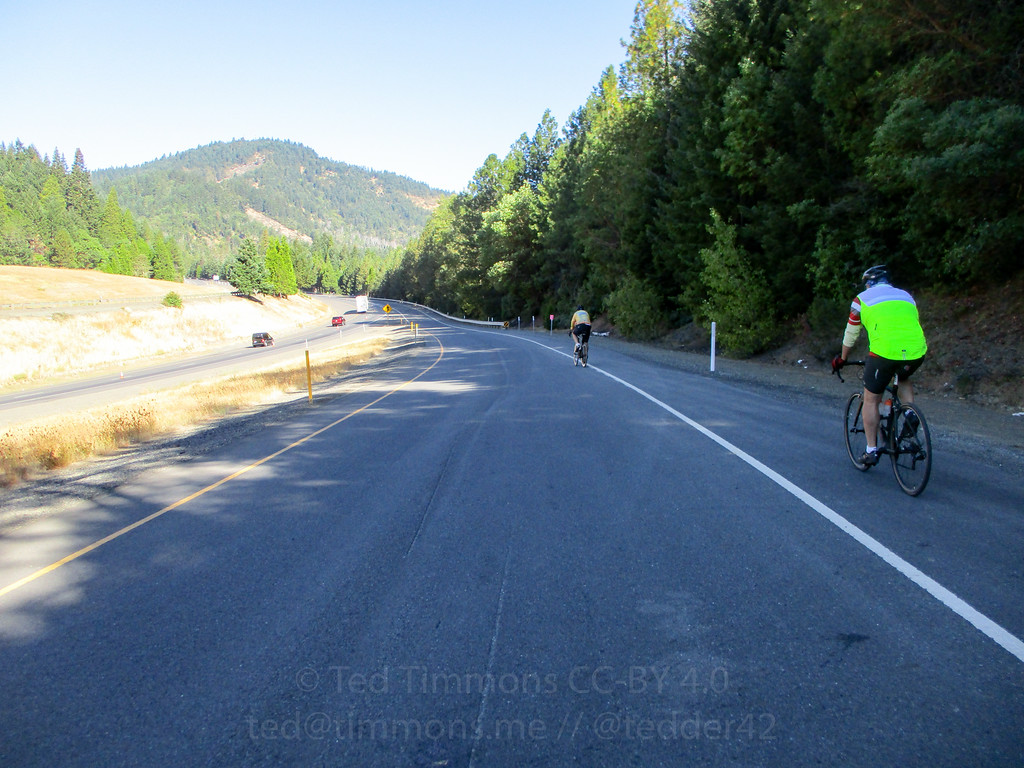 Riding onto I-5, going up Stage Road Pass.