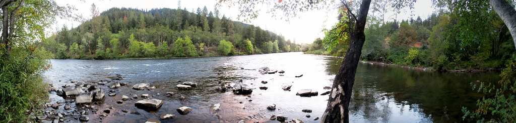 Panorama of sunset at the confluence of Elk Creek and Rogue River.