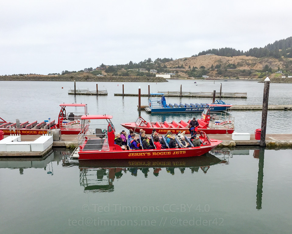 Boats used for the Rogue River jetboat tours.