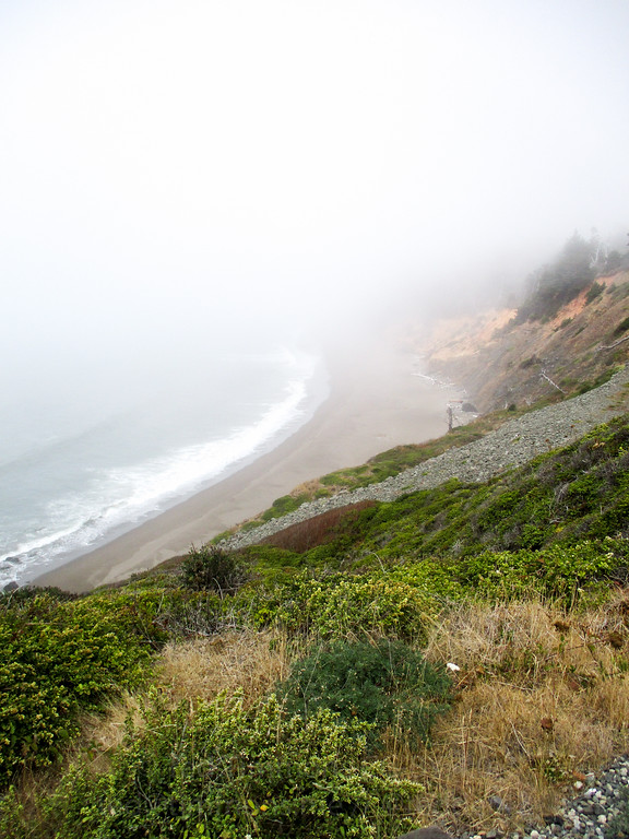 "Looking down at a ""pocket beach"" in the fog. This type of small beach, bookended with rock, is the quintessential Oregon beach."