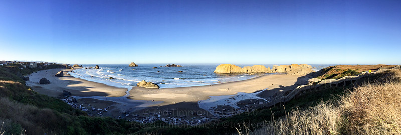 Bandon beach panorama in the morning.