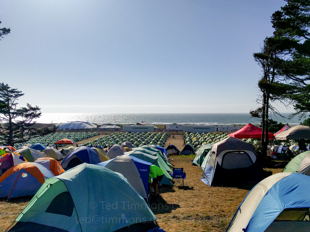Tent City in Gold Beach. The beach is just a few dozen yards from our tents.