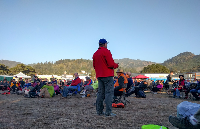 Ian Madin giving a geology talk to a captivated audience. One of the highlights of Cycle Oregon evenings.