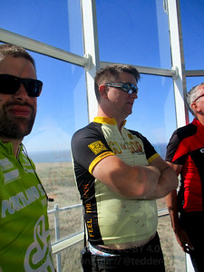 Ted and Jeremy at the top of the lighthouse. It's warm and very crowded.