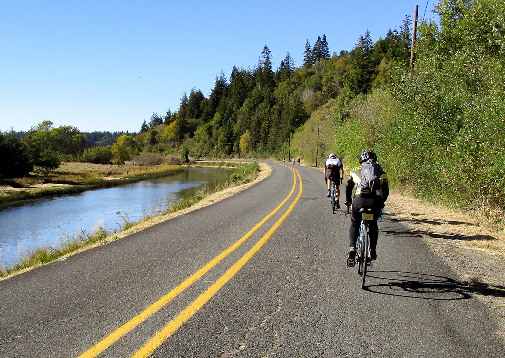 Riding with others through the Bandon Marsh.