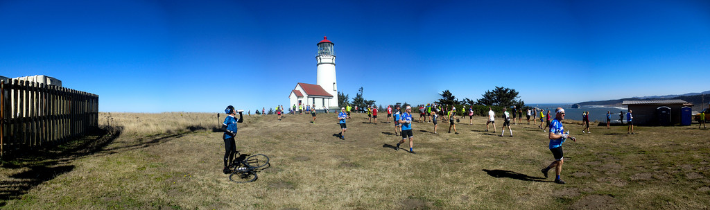 Panorama of the Cape Blanco Lighthouse lawn. Note the one cyclist who was stitched in multiple times.
