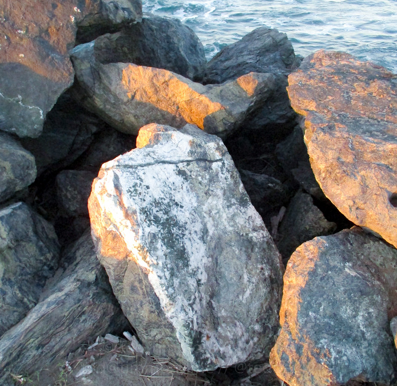 Unique rocks in the Coquille River jetty, made of a blueschist knocker. Lots of quartz, garnet, etc.