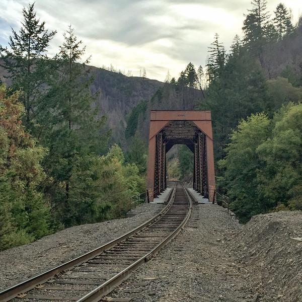 Railroad bridge across Cow Creek. Choo choo.