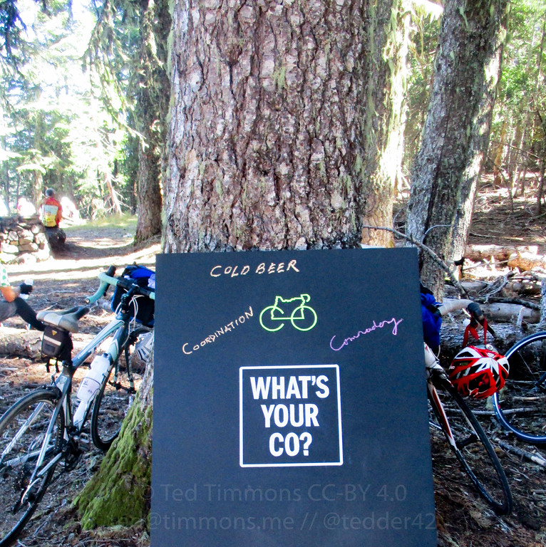 Chalkboard at Bear Camp summit lunch stop.