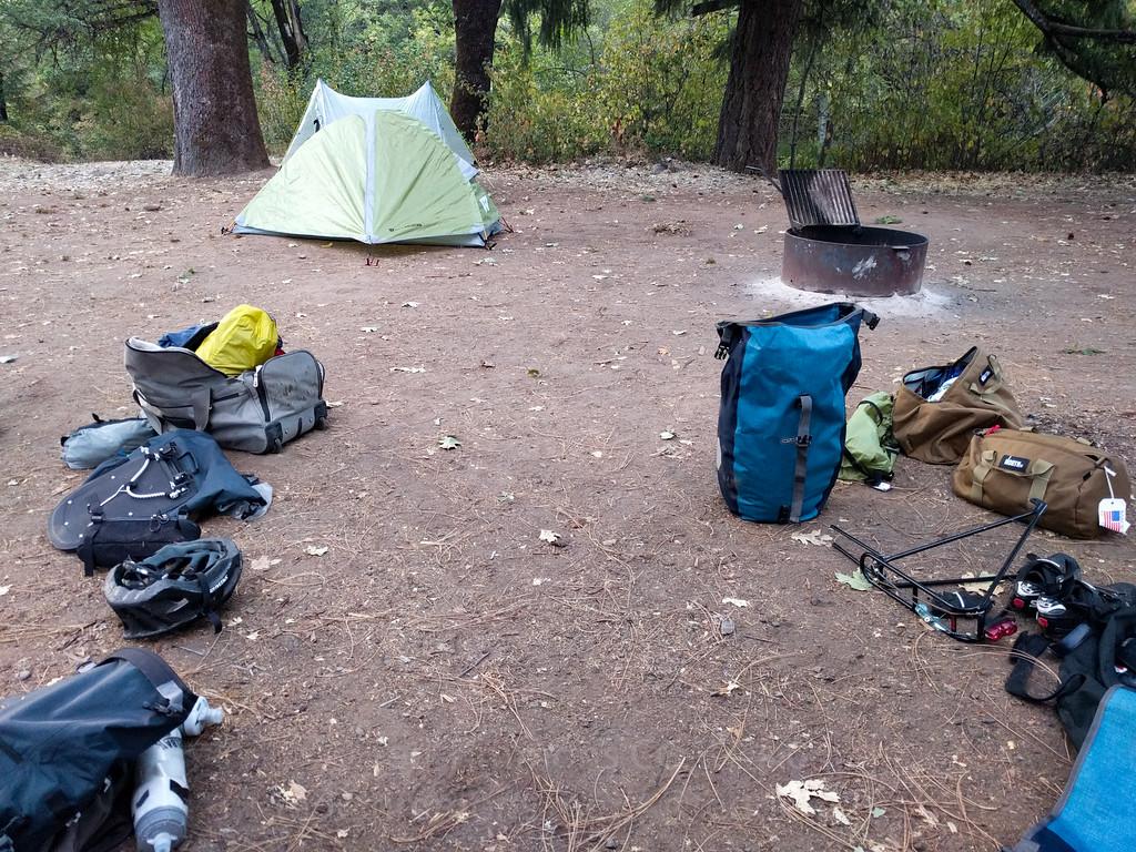 Unloading our gear. Everything's a mess since it's different gear than we need for Cycle Oregon.