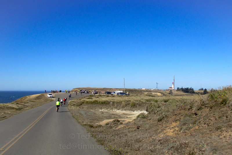 Rolling towards the Cape Blanco parking lot. Cars weren't allowed further but bikes were- we got to ride right up to the lighthouse.