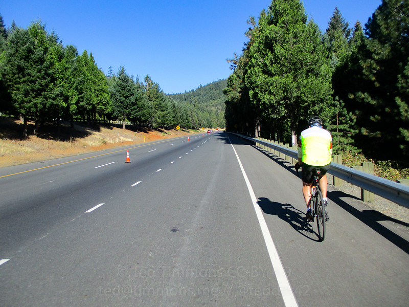 Riding on I-5, going up Stage Road Pass.
