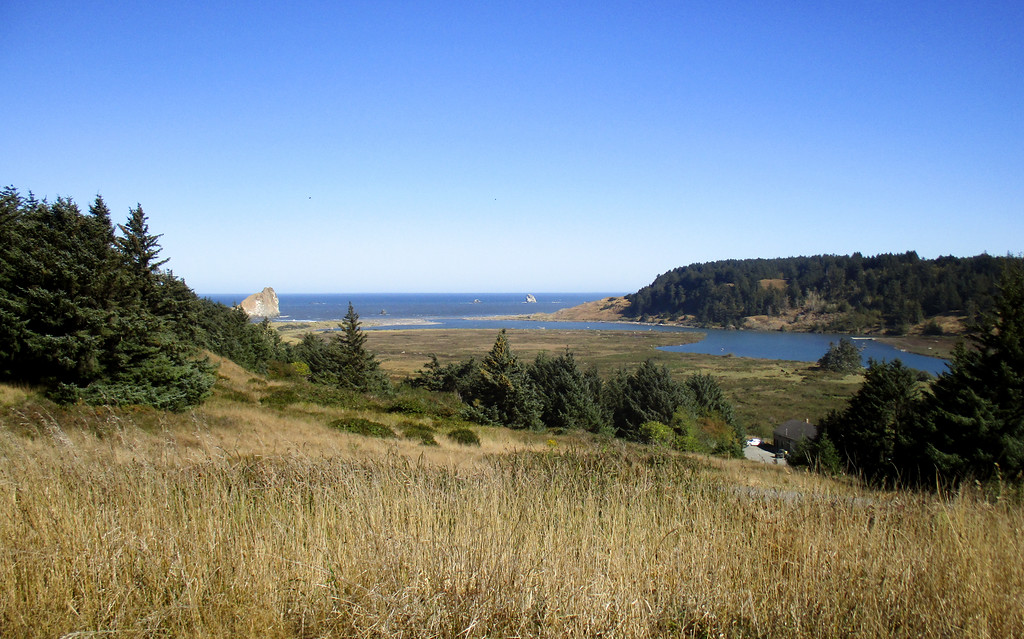 Looking north from Cape Blanco at the Sixes River estuary.