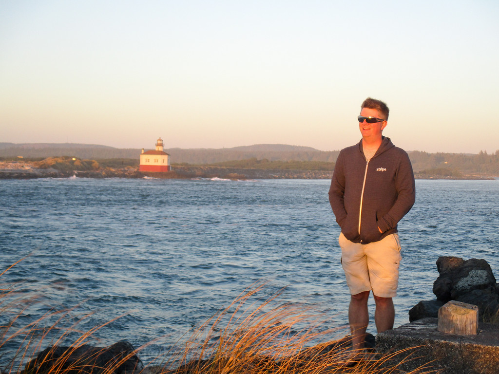 Jeremy, looking towards the sunset on the jetty.