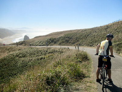 Jeremy, riding on the access road back to the Cape Blanco parking lot.