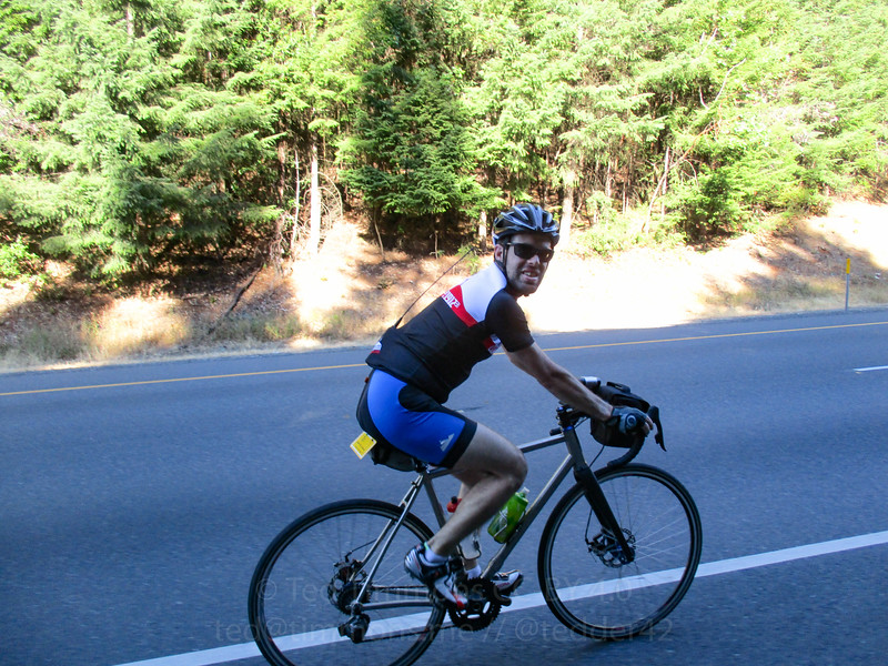 Selfie while riding on I-5, going up Stage Road Pass.