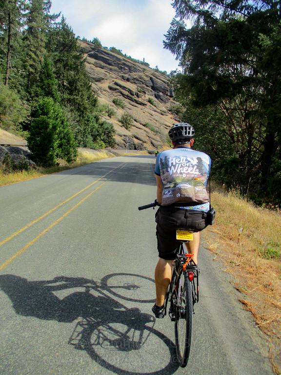 Jeremy, riding along Cow Creek Road.