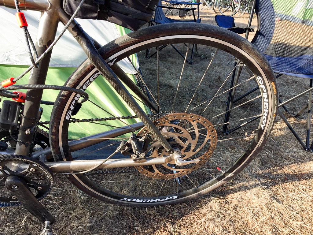 Look at the massive disc on the back of the Santana tandem.