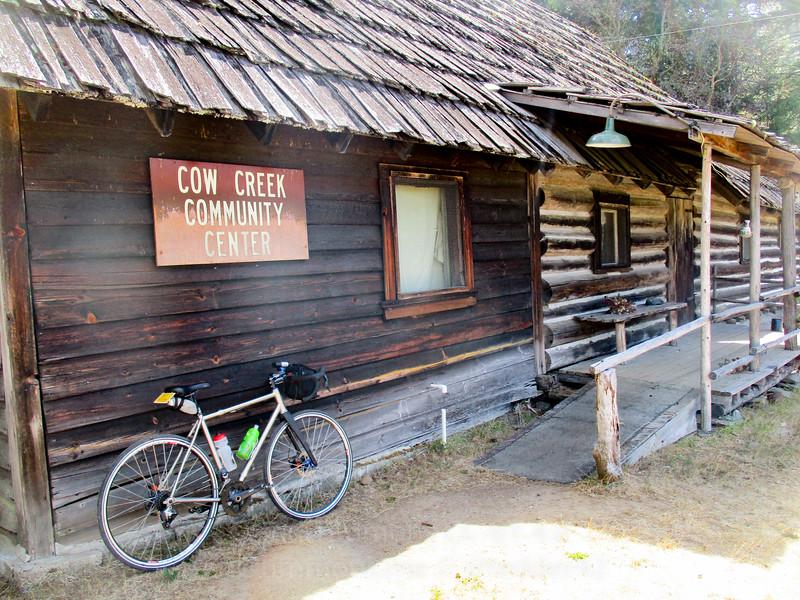Quaint Cow Creek Community Center building.