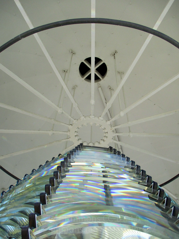 Looking up at the lighthouse roof. Top part of the fresnel lens is visible. Lots of pieces!