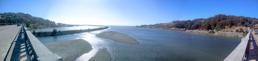 Panorama from the Rogue River Bridge towards the ocean.