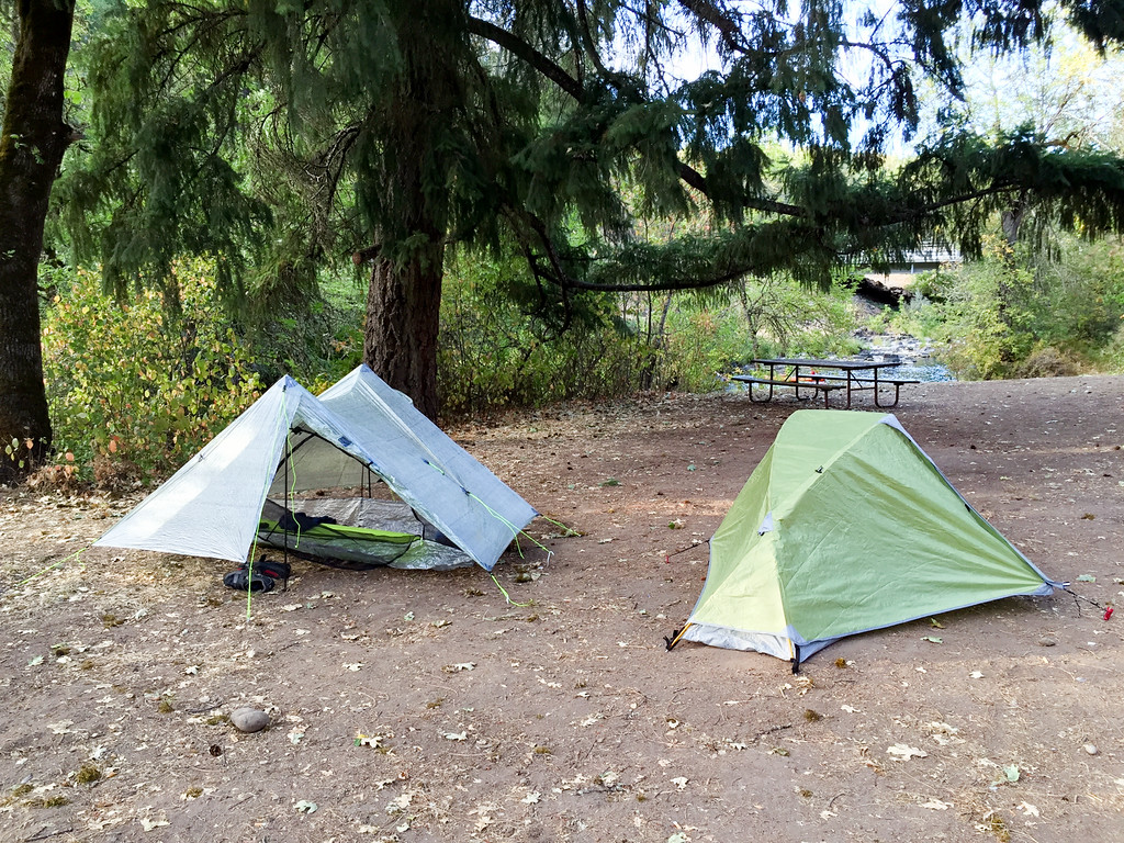 Campsite at Rogue Elk CG. Elk Creek is visible in the background to the right, Rogue River is just to the left.