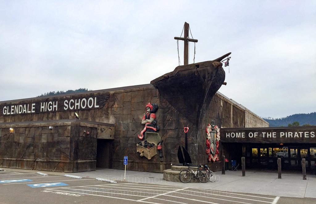 Obligatory bike selfie in front of the pirate high school.
