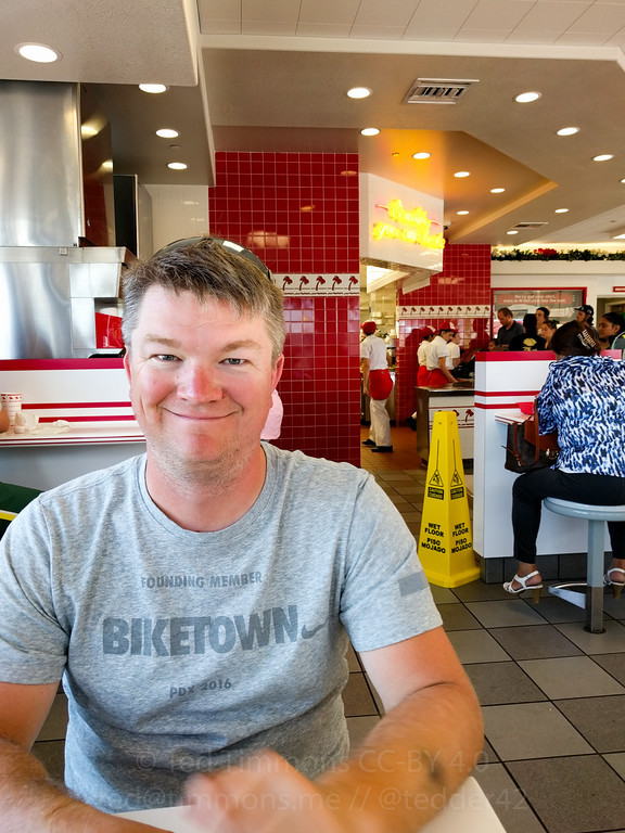 Jeremy is happy to both be in Oregon and to be at In n' Out.
