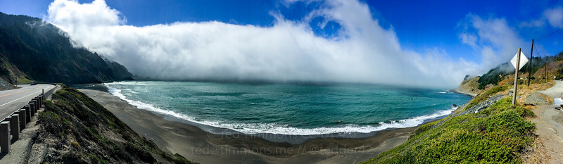 Panorama of the fog rolling in at Humbug Mountain.