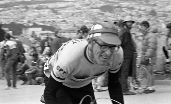 george hayler, early gpp member, who later joined berkeley wheelmen<br /> fred kornahrens photo from early '70s Endspurt race<br /> May 1973<br /> McLaren park, SF<br /> <br /> <br /> 1973-05-01