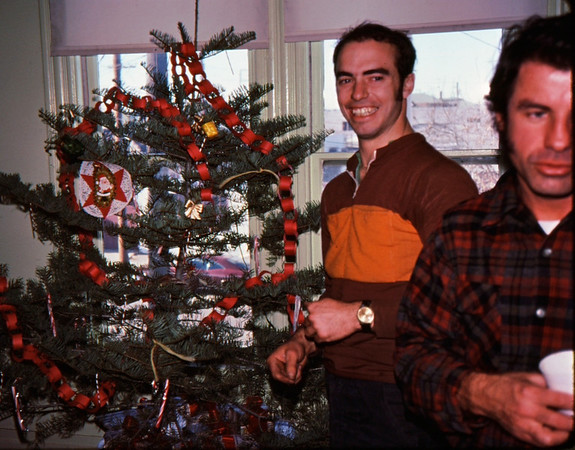 People: Charles Larribeau<br /> Subject:  Christmas tree<br /> Place: The Factory ( Alameda )<br /> Activity: Patty Rose Xmas ride to deliver presents to Children's Hospital, Oakland<br /> Comments: <br /> 4*Sun, Dec 22, 1974