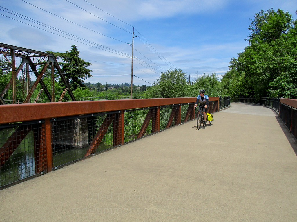 Jeremy crossing the Tualatin River on the Fanno Creek trail.