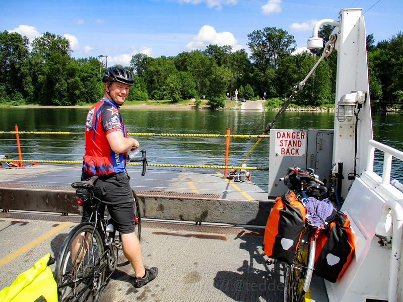 Jeremy on the Wheatland Ferry.
