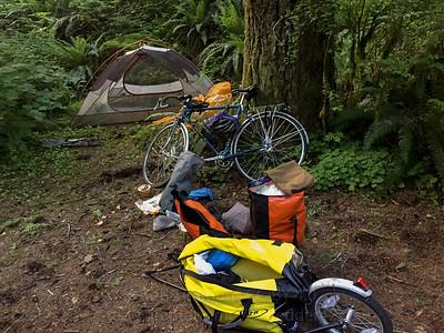 Campsite. Jeremy's tent, my bike, Jeremy's trailer.