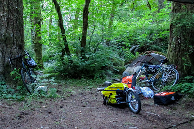Our humble campground. Jeremy's bike at left, then his trailer, then my bike, then Jeremy's tent. Making tea, so the stove is on, just above Jeremy's trailer. (my tent is straight back, past Jeremy' bike)
