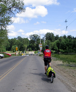 Jeremy approaching the Wheatland Ferry.