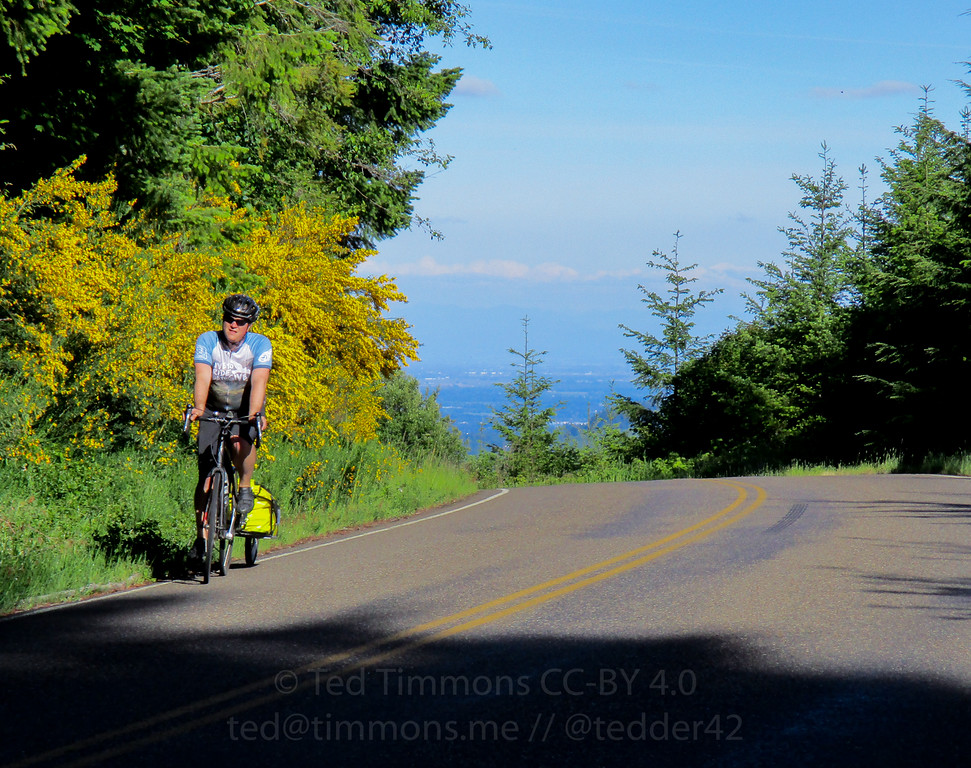 Jeremy cresting Nestucca/Bald Peak (which he dubbed Ballmer Peak).
