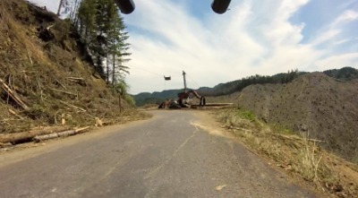 logging operation on the downhill around mile 78