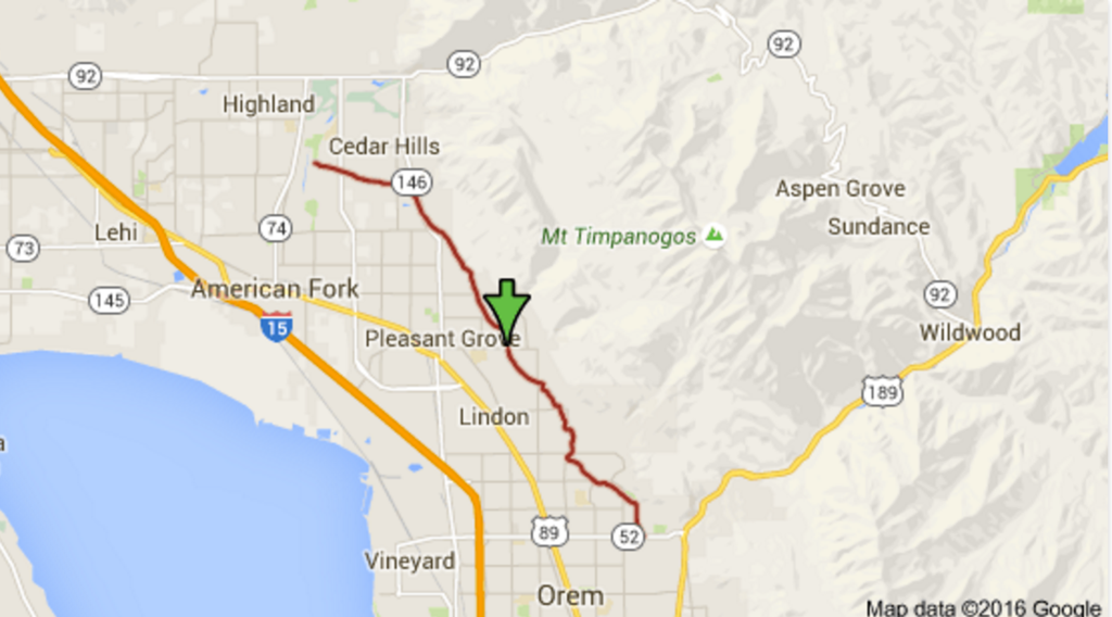 Map of the Murdock Canal Trail. Great because it doesn't run alongside roads. Screenshot of Google Maps.