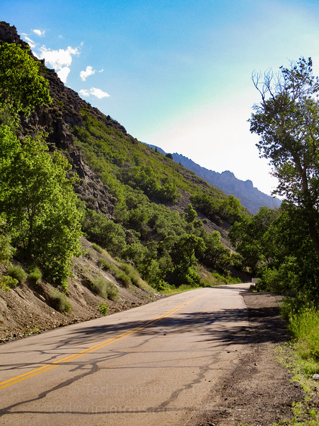 Looking up the road. Love the layers of mountains.