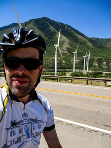 Wind turbines at the mouth of Spanish Fork Canyon. They were turning- there's a very steady wind there.