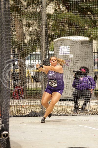 Junior Taylor Latimer gets ready to throw during the first day of the Big 12 Track and Field Championships at R.V Christian Track. (Sophie Osborn   Collegian Media Group)