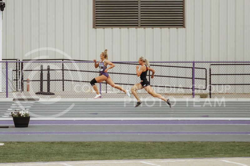 Senior Lauren Taubert runs a 200 meter race as part of the Heptathlon during the first day of the Big 12 Track and Field Championships at R.V Christian Track. (Sophie Osborn   Collegian Media Group)