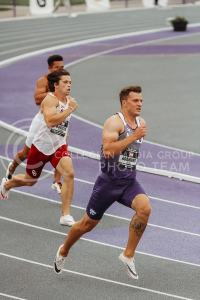Junior Matas Adamonis runs an event as part of the decathlon during the first day of the Big 12 Track and Field Championships at R.V Christian Track. (Sophie Osborn   Collegian Media Group)