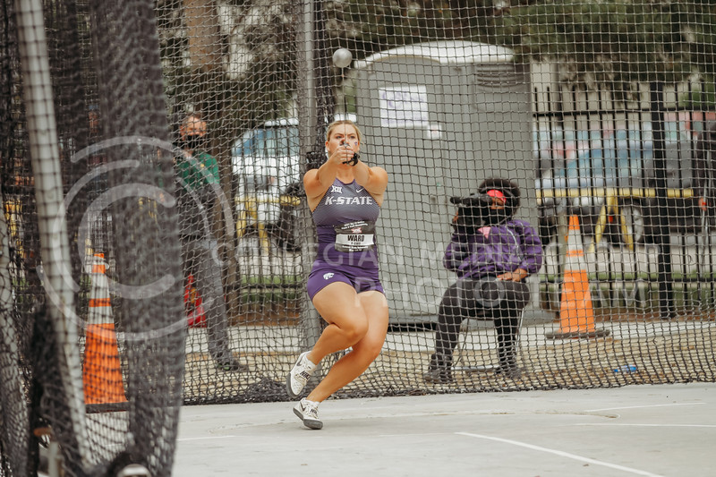 Senior Shaelyn Ward gets ready to throw during the first day of the Big 12 Track and Field Championships at R.V Christian Track. (Sophie Osborn   Collegian Media Group)