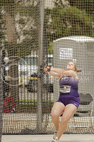Senior Helene Ingvaldsen gets ready to throw during the first day of the Big 12 Track and Field Championships at R.V Christian Track. (Sophie Osborn   Collegian Media Group)