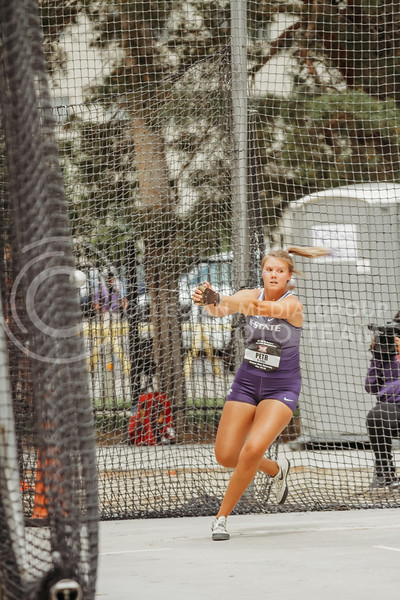 Senior Ashley Petr gets ready to throw during the first day of the Big 12 Track and Field Championships at R.V Christian Track. (Sophie Osborn   Collegian Media Group)