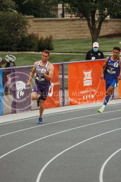 Senior Kyle Parr runs an event as part of the decathlon during the first day of the Big 12 Track and Field Championships at R.V Christian Track. (Sophie Osborn   Collegian Media Group)