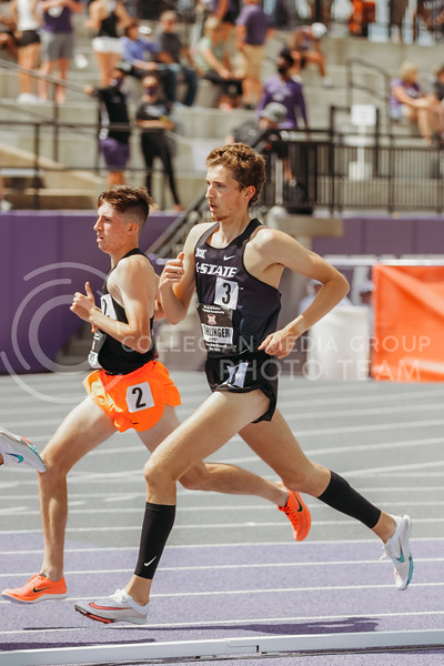 Sophomore Mike Rohlinger runs the 1500 during the second day of the Big 12 Track and Field Championships at R.V Christian Track. (Sophie Osborn | Collegian Media Group)